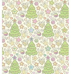 Funny seamless christmas color background vector image