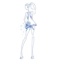 girl pen blue vector image