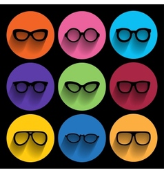 Glasses frame icons vector