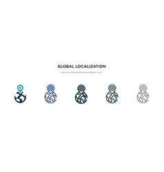 Global localization icon in different style two vector