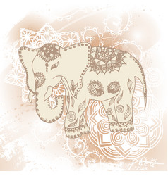 Greeting beautiful card with elephant frame of vector