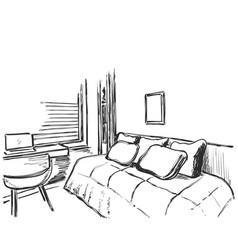 hand drawn interior sketch comfortable sofa and vector image