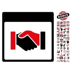 Handshake Calendar Page Flat Icon With vector