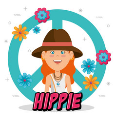happy hippie woman cartoon vector image