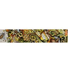 Honey hand drawn doodle banner cartoon detailed vector