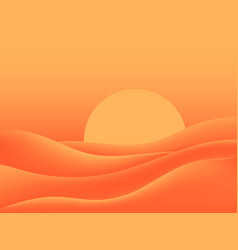 Hot desert scorching sun landscape with sand dunes vector