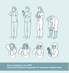 how to wear personal protective equipment vector image