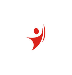 isolated abstract red color human body in motion vector image