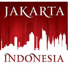 jakarta indonesia city skyline silhouette red vector image