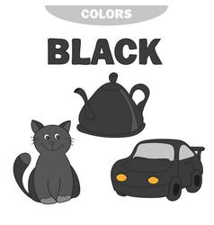 Learn colors worksheet set for kids black vector