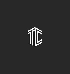 Letter tc logo monogram isometric elegant minimal vector