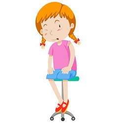 Little girl sitting on stool vector image