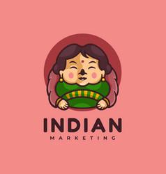 logo indian girl cartoon cute style vector image