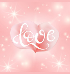 love text with painting rose pink petal vector image