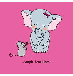 Mouse gives a flower to an elephant vector