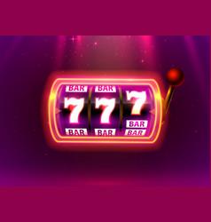 Neon slot machine wins jackpot bar vector