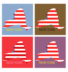 New york state of america with map flag print vector