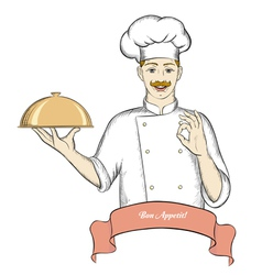 Nice chef serving dish banner for text vector