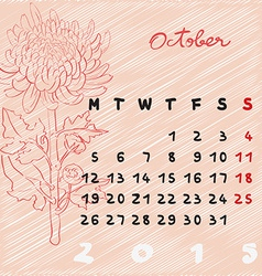 october 2015 flowers vector image