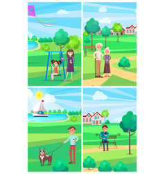 people relaxing in summer park posters collection vector image