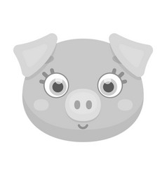 Pig muzzle icon in monochrome style isolated on vector