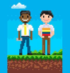 pixel people on field friends pixelated graphics vector image