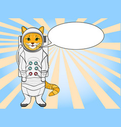 Pop art background red cat in a spacesuit and vector
