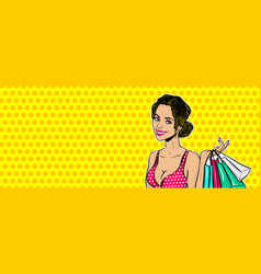 Pop art girl sale shopping bag vector