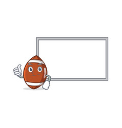 Pose with board american football character vector