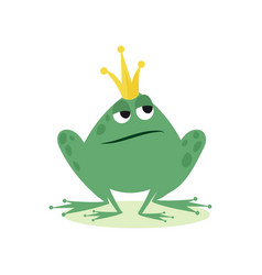 Prince frog in golden crown fairy tale character vector