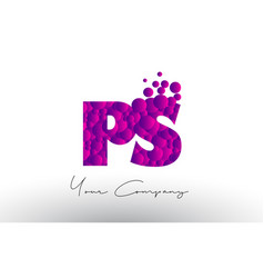 Ps p s dots letter logo with purple bubbles vector