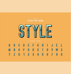 reflective font and alphabet gradient style vector image