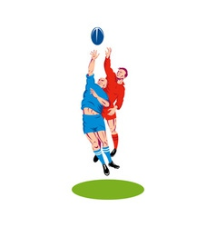 Rugby player catching the ball vector