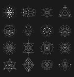 Sacred geometry set on black background vector