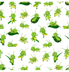 Seamless pattern with grasshopper cartoon vector