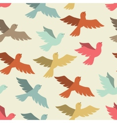 Seamless pattern with stylized color flying birds vector image