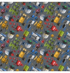 Seamless robot pattern cartoon vector image