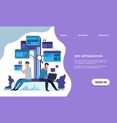 seo optimization landing page website promotion vector image