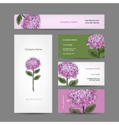 Set of business cards design with hydrangea flower vector image vector image