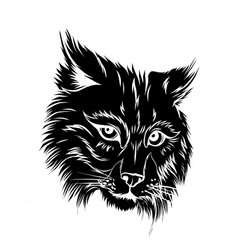 Shows an angry bobcat face vector