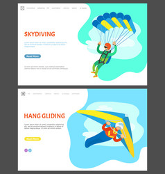 skydiving and hang gliding activities men vector image