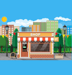 Small european style shop exterior vector