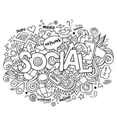 Social hand lettering and doodles elements vector