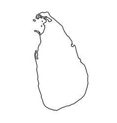 Sri lanka map of black contour curves on white vector