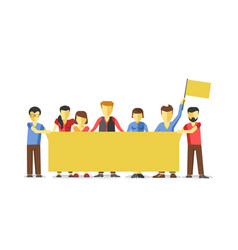 Striking people holding empty yellow banner vector
