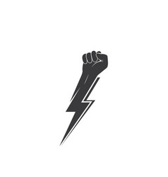 Strong hand with power thunder vector