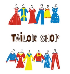 Tailor and sewing shop background with clothes vector image