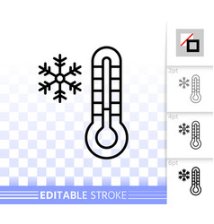 Thermometer simple black line icon vector