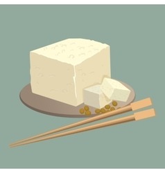 Tofu cheese on plate with chopsticks isolated vector