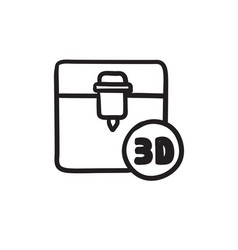 Tree d printing sketch icon vector